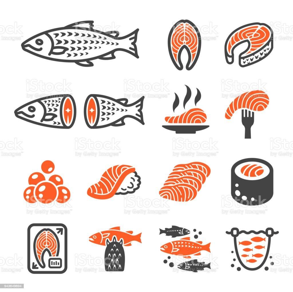 icône de saumon - Illustration vectorielle
