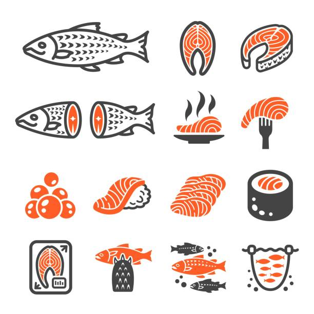 salmon icon - japanese food stock illustrations