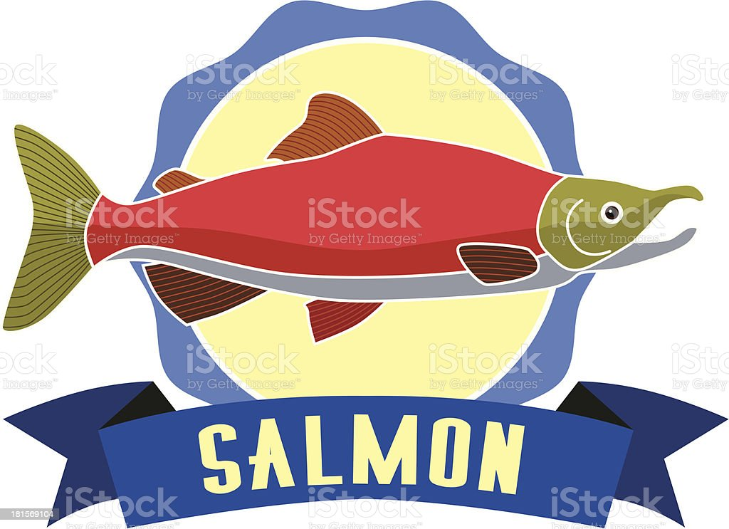 salmon label royalty-free stock vector art