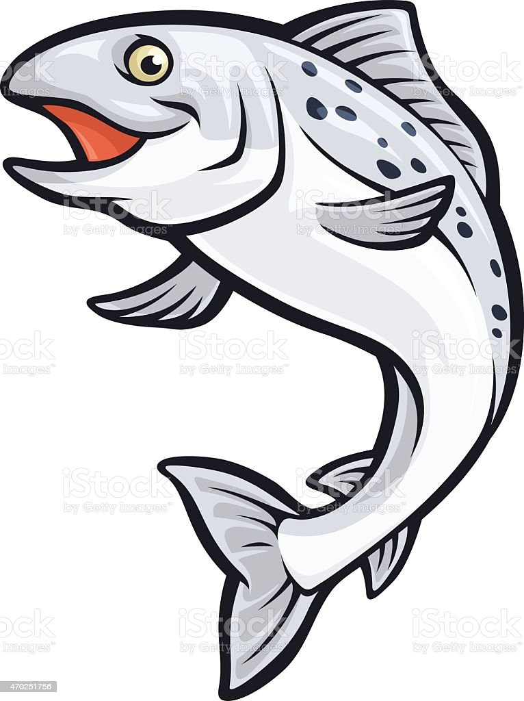 Salmon Mascot vector art illustration