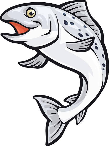 Salmon Mascot vector art illustration