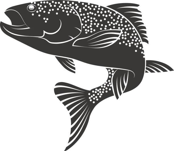 illustrazioni stock, clip art, cartoni animati e icone di tendenza di salmon silhouette - trout