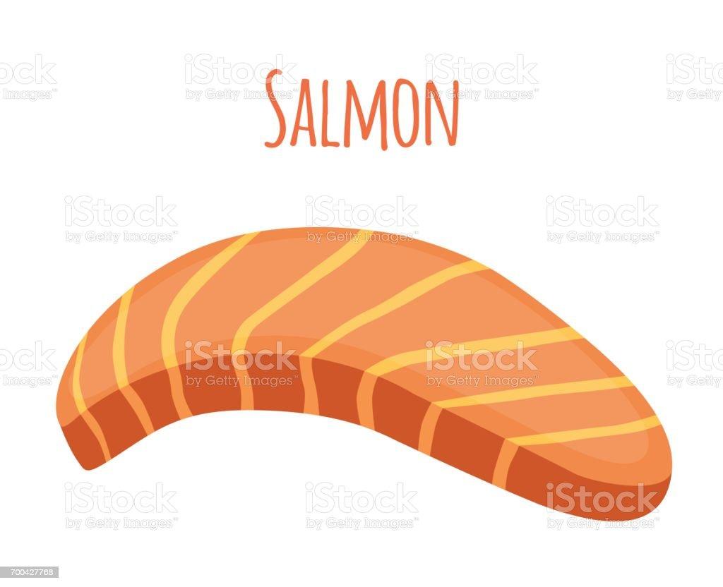 Salmon slice. Piece of fish, fillet, fish steak. Flat style. vector art illustration
