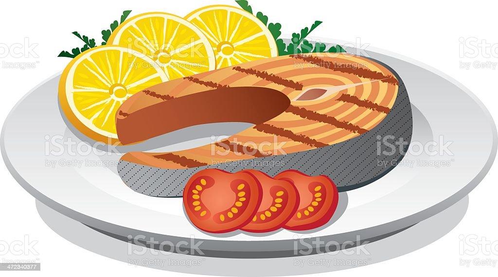 salmon steak prepared vector art illustration