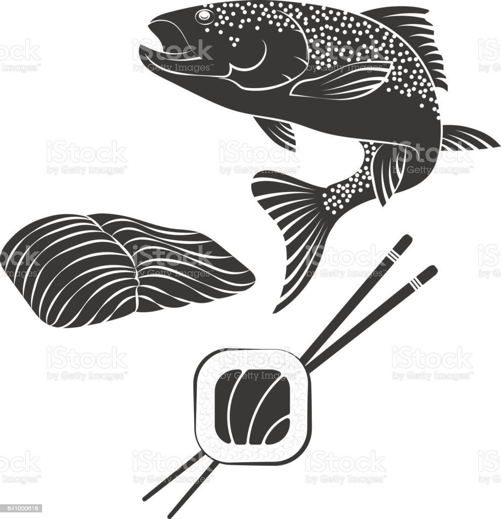 Salmon sushi vector vector art illustration