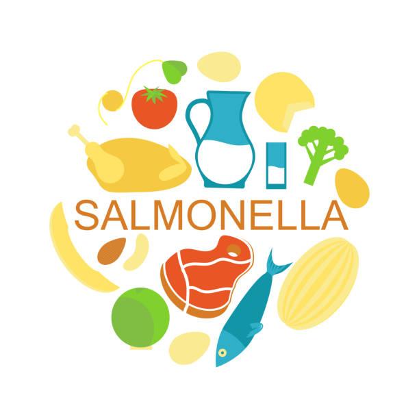 ilustraciones, imágenes clip art, dibujos animados e iconos de stock de alimentos contaminado con salmonella - comida cruda