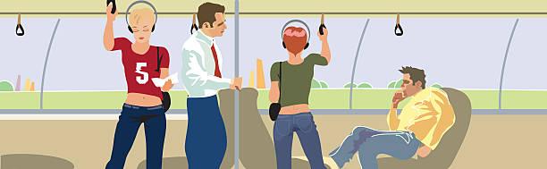Salon bus passengers. Vector Public transport passengers bus rapid transit stock illustrations