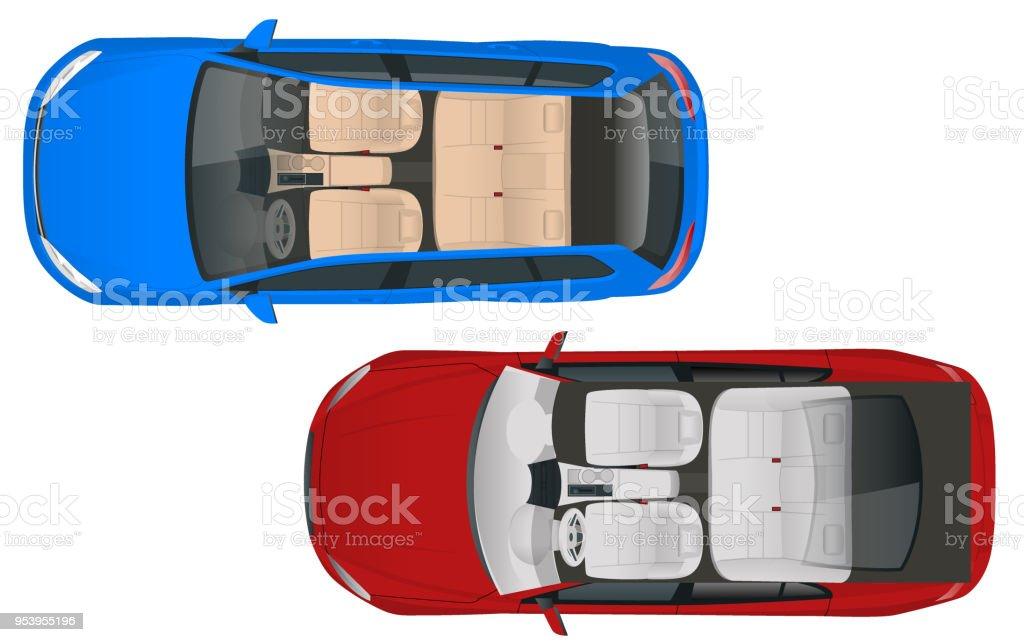 サロン車ワゴンとベクトル図の上からサロン車セダン見るコンパクトな