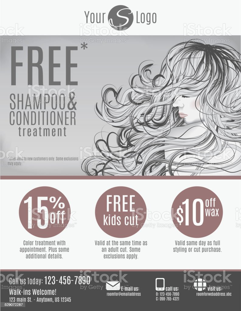 Salon flyer template vector art illustration
