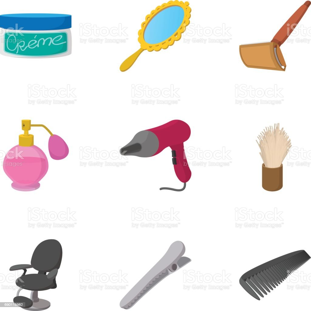 Salon icons set, cartoon style vector art illustration