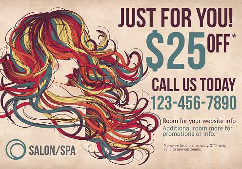 Salon postcard with coupon discount advertisement