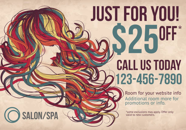 salon postcard with coupon discount advertisement - beauty salon stock illustrations, clip art, cartoons, & icons