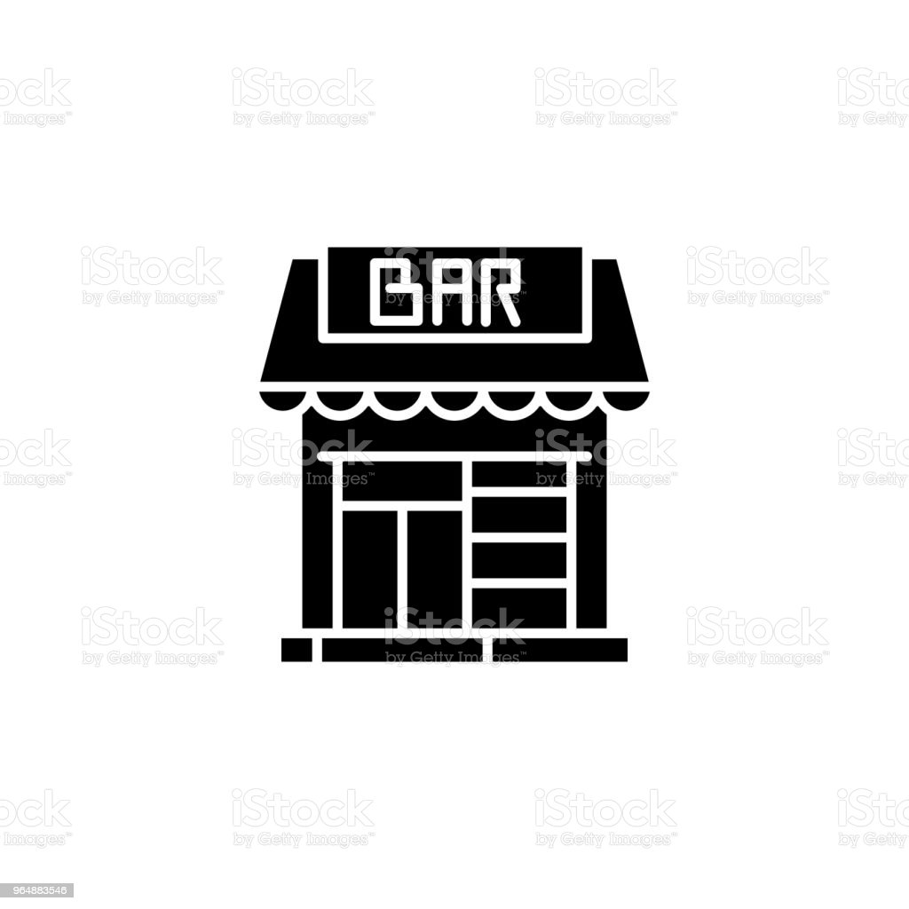 Saloon bar black icon concept. Saloon bar flat  vector symbol, sign, illustration. royalty-free saloon bar black icon concept saloon bar flat vector symbol sign illustration stock vector art & more images of alcohol