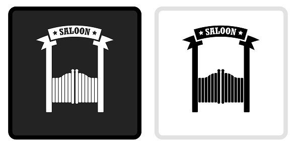 Saloon Icon on  Black Button with White Rollover