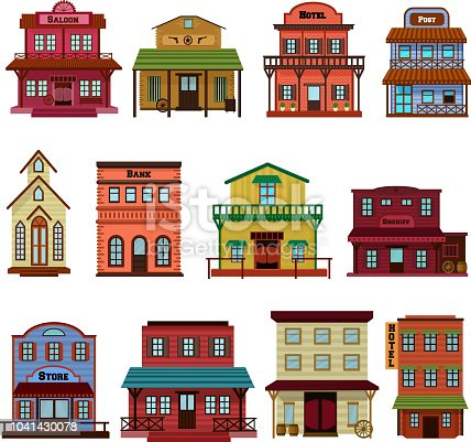Saloon vector wild west building and western cowboys house or bar in street illustration wildly set of country landscape with architecture hotel store in town isolated on white background.