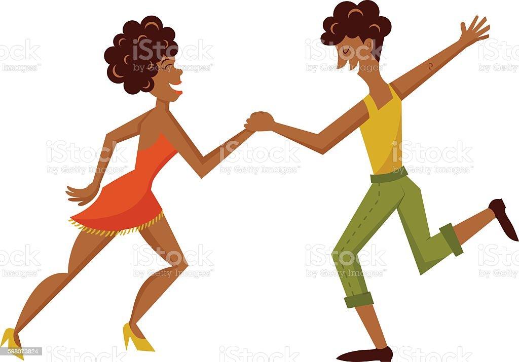 salsa dancers vector art illustration