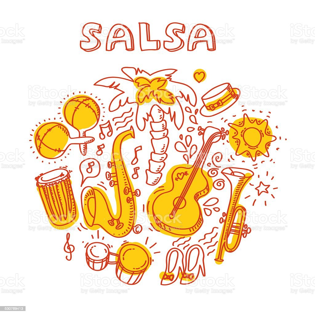 Salsa music and dance illustration with musical instruments, palms, etc vector art illustration