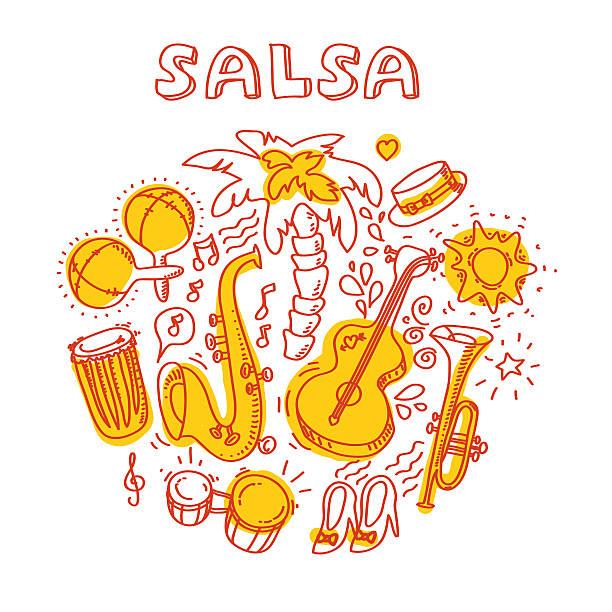 bildbanksillustrationer, clip art samt tecknat material och ikoner med salsa music and dance illustration with musical instruments, palms, etc - latino music