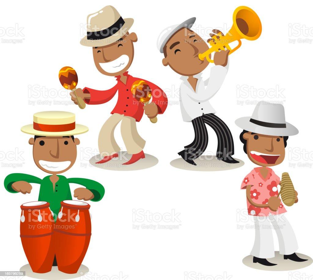 Salsa music band vector art illustration