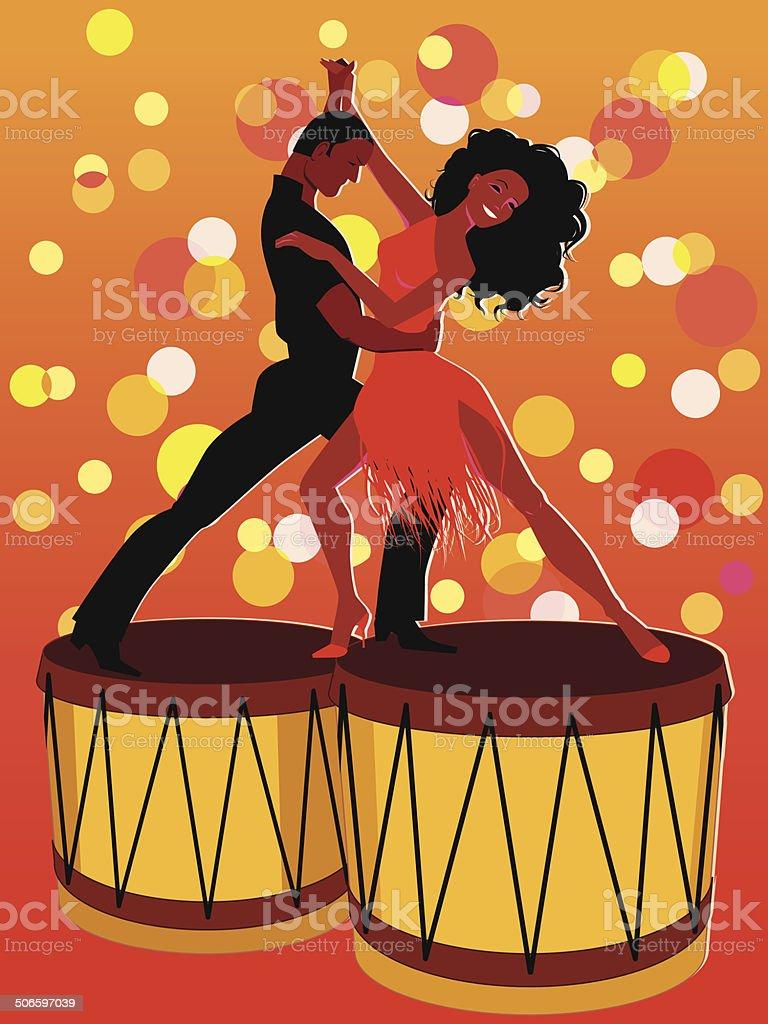 Salsa on bongos vector art illustration