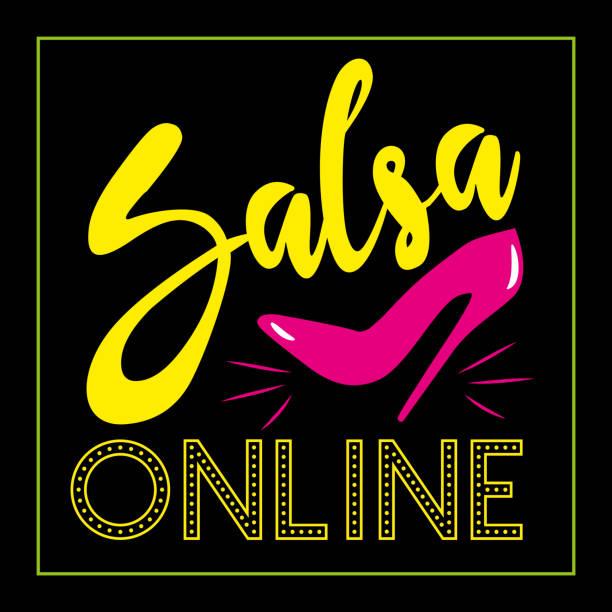 ilustrações, clipart, desenhos animados e ícones de salsa online - texto com sapato de salto alto. - salas de aula
