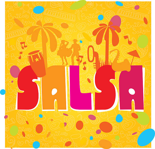 bildbanksillustrationer, clip art samt tecknat material och ikoner med salsa vector lettering - latino music