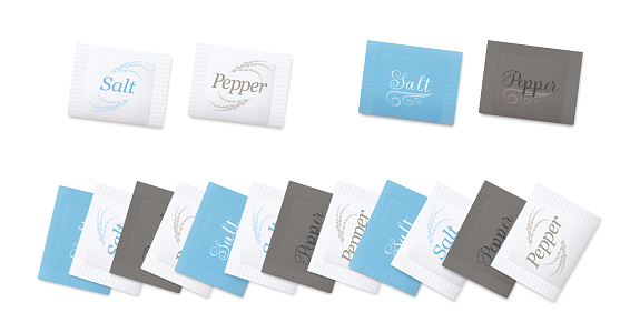 Salt an pepper sachets. Variuos paper envelopes to rip for seasoning, typical for restaurants, hotels, inns, guest houses, dining cars. Isolated vector illustration on white background.