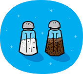 Vector illustration of hand drawn salt and pepper shakers against a blue background.