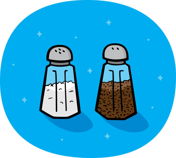 Salt and Pepper Doodles Vector illustration of hand drawn salt and pepper shakers against a blue background. salt stock illustrations
