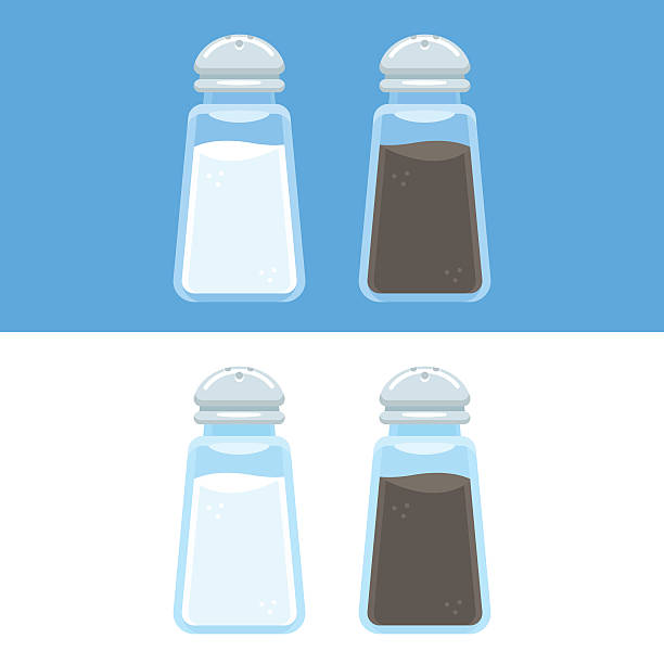 Salt and pepper icons Salt and pepper shakers vector illustration isolated on blue and white background. Cooking spices icons in flat cartoon style. salt stock illustrations