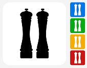 Salt and Pepper Shaker Icon Flat Graphic Design