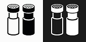 Salt and Pepper Shaker Icon on Black and White Vector Backgrounds