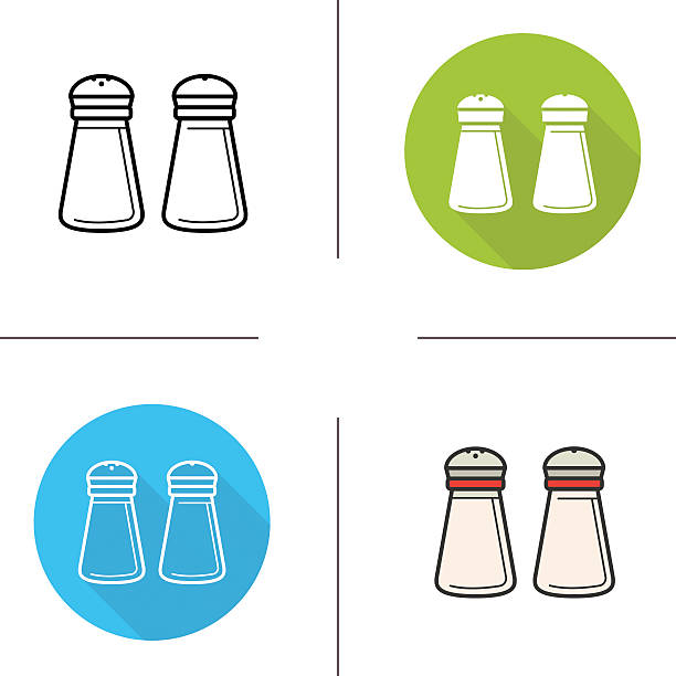 Salt and pepper shakers icons Salt and pepper shakers flat design, linear and color icons set salt stock illustrations
