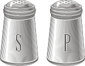 Salt and pepper shakers in engraving style