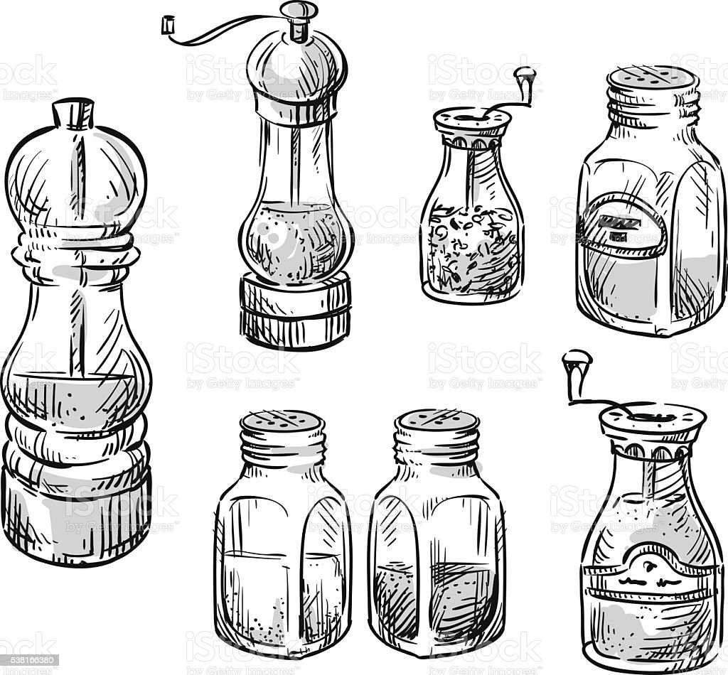 Salt And Pepper Shakers Spice Containers stock vector art ...