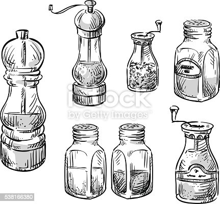 Salt And Pepper Shakers Spice Containers Stock Vector Art