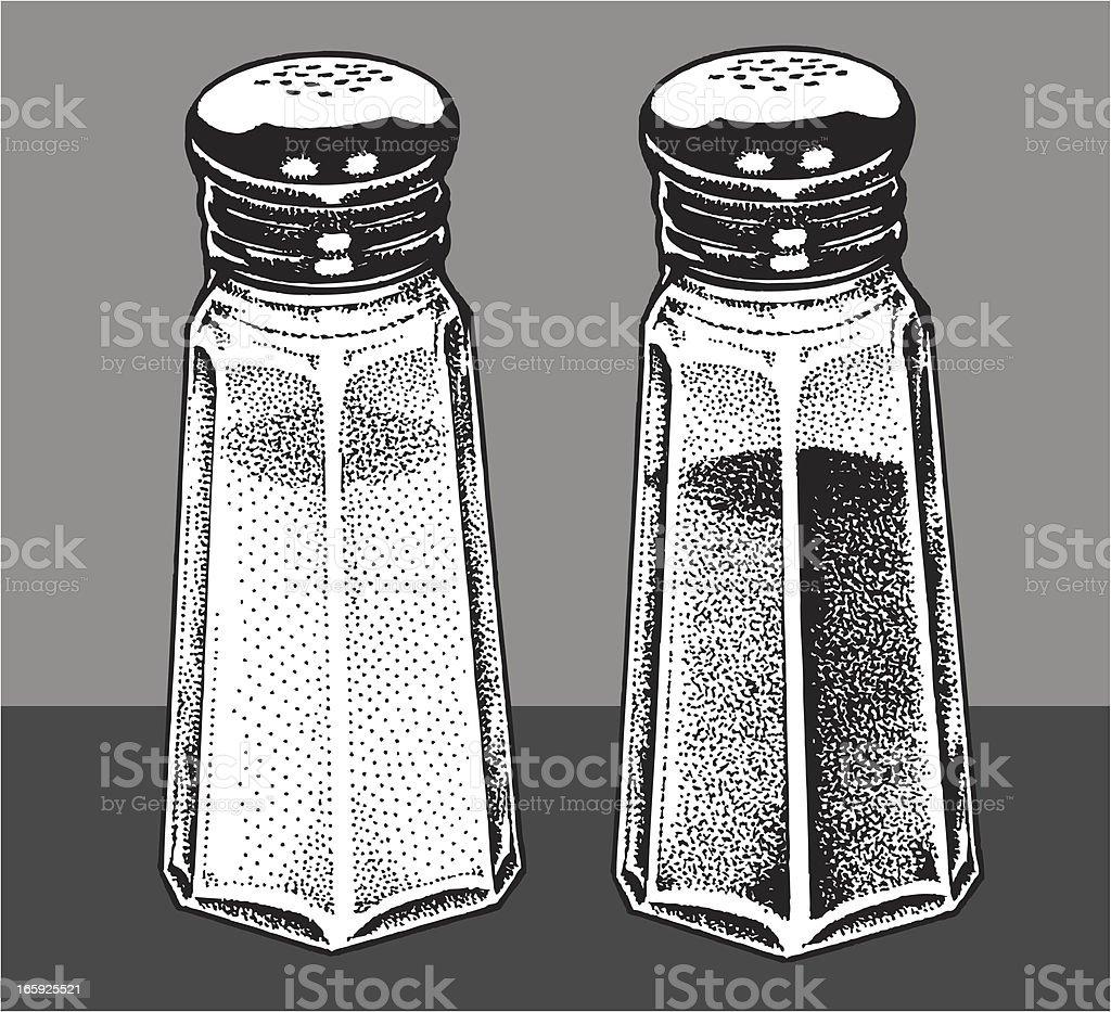 Salt and Pepper Shakers vector art illustration