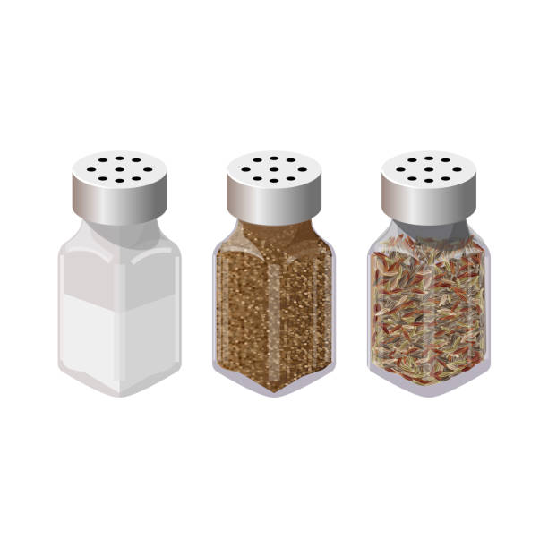 Salt and pepper shakers. Set of spices in dispensers. Salt and pepper shakers. Vector illustration isolated on the white background salt seasoning stock illustrations