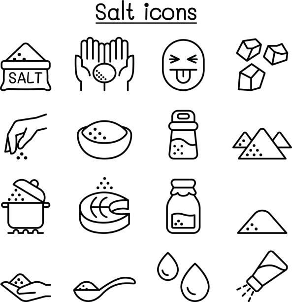 Salt icon set in thin line style Salt icon set in thin line style salt seasoning stock illustrations
