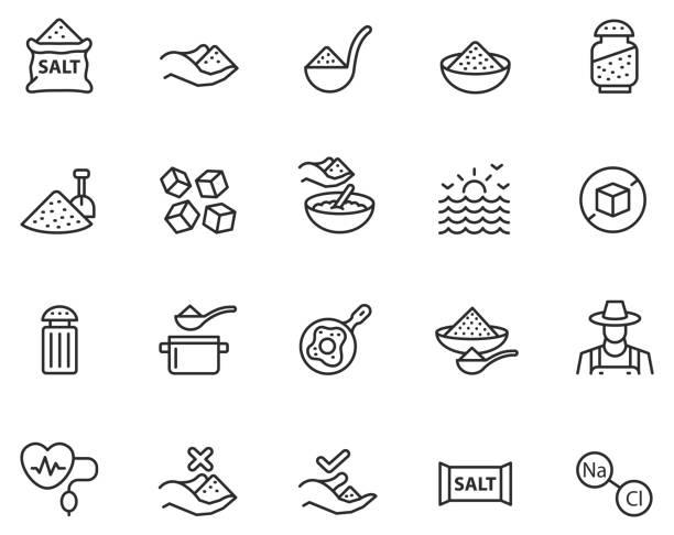 Salt icon set Salt icon set , vector illustration salt stock illustrations