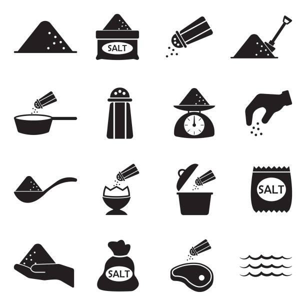 Salt Icons. Black Flat Design. Vector Illustration. Food, Salt, Sodium, Health salt stock illustrations