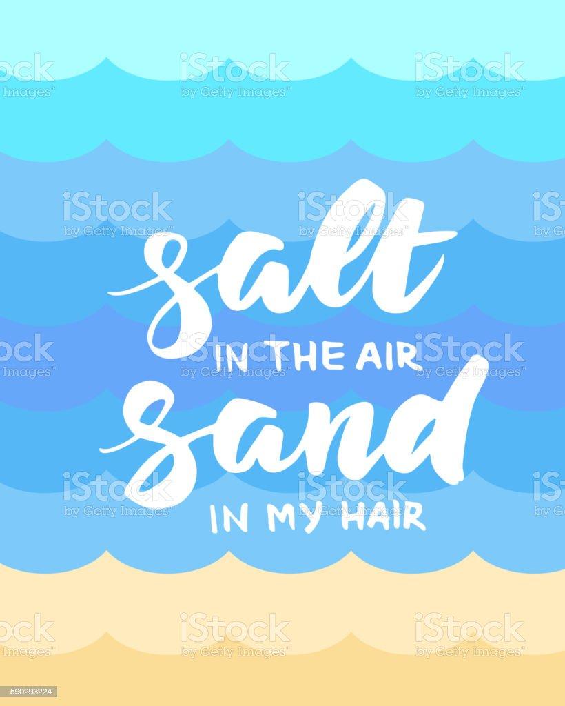 Salt in the air, sand in my hair summer card royaltyfri salt in the air sand in my hair summer card-vektorgrafik och fler bilder på affisch