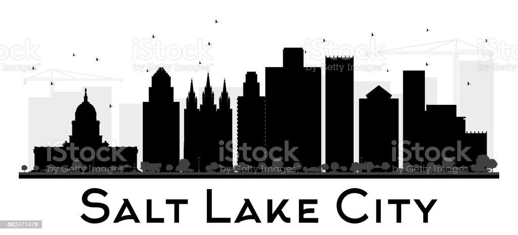 Silueta de horizonte blanco y negro de ciudad del lago salado. ilustración de silueta de horizonte blanco y negro de ciudad del lago salado y más banco de imágenes de arquitectura libre de derechos