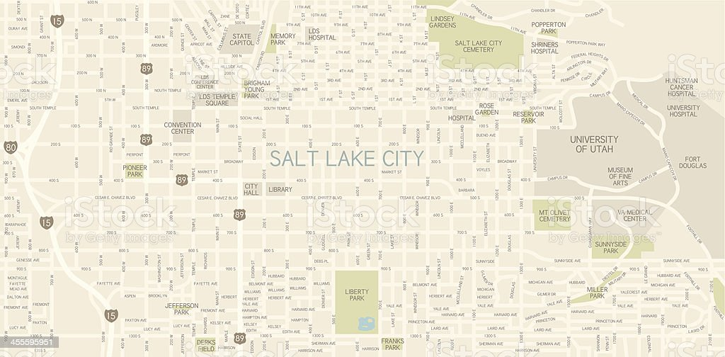 Salt Lake City Downtown Map Stock Vector Art & More Images of ...