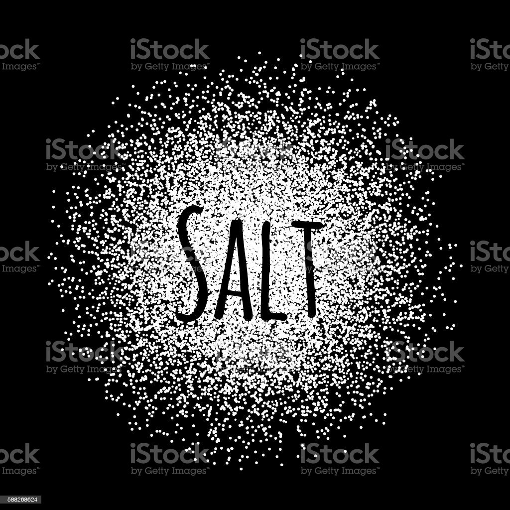 Salt made of white dots vector art illustration