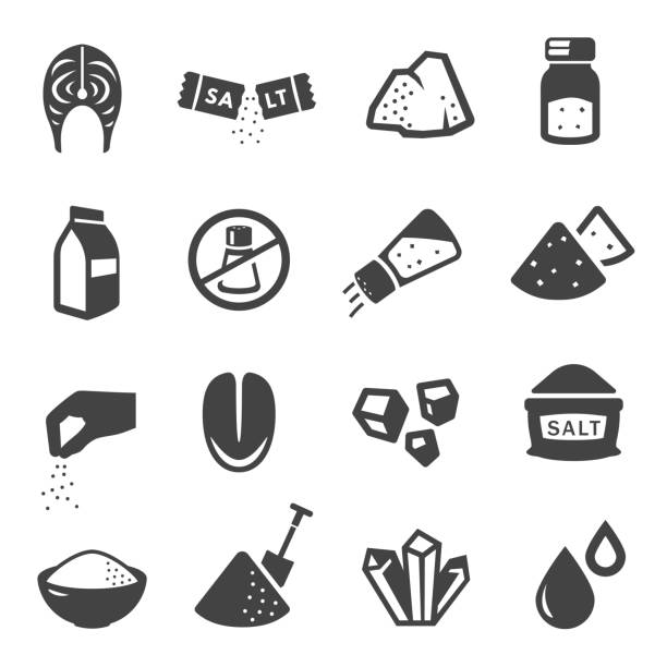 Salt manufacturing and consumption glyph icons set Salt manufacturing and consumption glyph icons set. Mineral crystals, sack and shovel negative space symbols. Culinary ingredient, saltcellar and individual sachet stick pictograms. Salt free sign salt stock illustrations