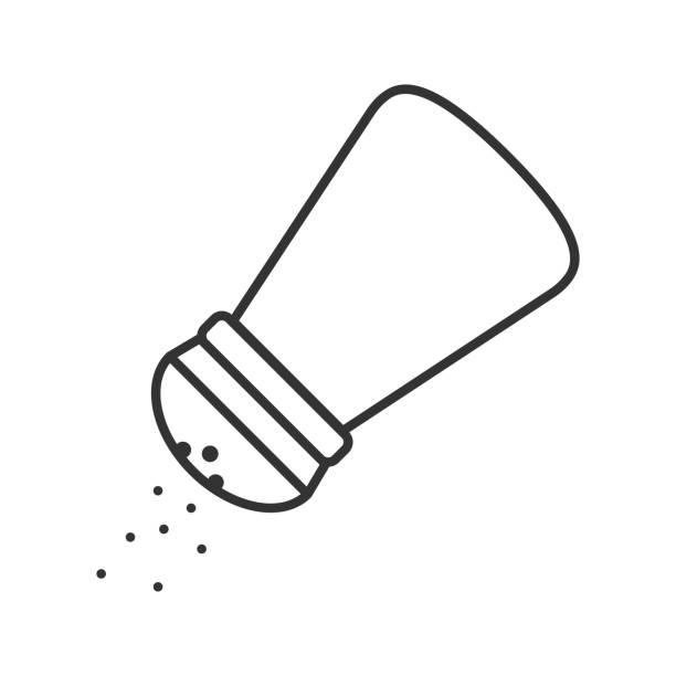 Salt or pepper shaker icon Salt or pepper shaker linear vector icon. Thin line. Spice salt stock illustrations