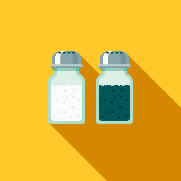 Salt & Pepper Flat Design Fast Food Icon A flat design styled fast food icon with a long side shadow. Color swatches are global so it's easy to edit and change the colors. salt stock illustrations