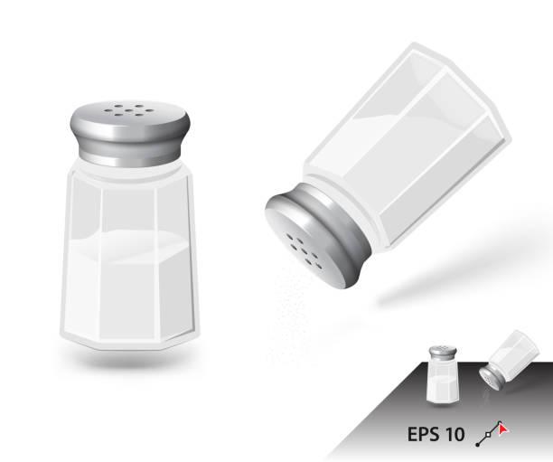 Salt shaker isolated on white background. Ready for your design. Vector illustration salt stock illustrations