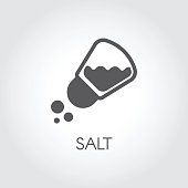 Salt shaker seasoning icon in flat design. Pictogram for food cooking theme. Simple emblem of spice. Vector illustration